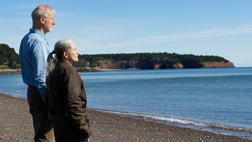 An aging man and woman stand on a beach and stare contemplatively out at the horizon